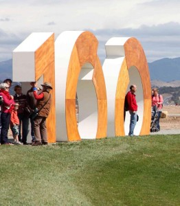 National Arboretum Grand Opening - image of guests near 100 statue